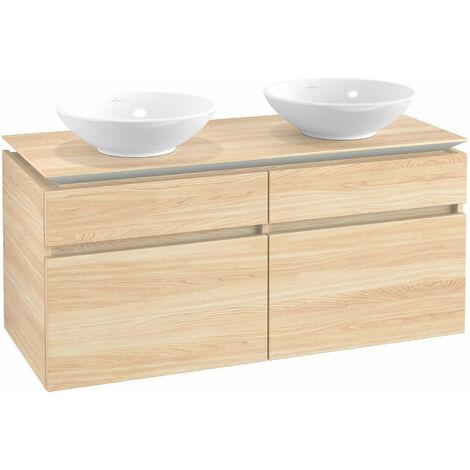 Mueble de tocador Villeroy & Boch Legato B148, 1200x550x500mm, 2 lavabos, color: Elm Impresso - B14800PN