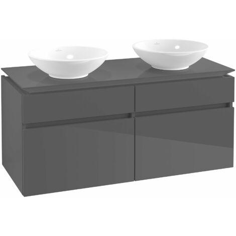 Mueble de tocador Villeroy & Boch Legato B148, 1200x550x500mm, 2 lavabos, color: Gris brillante - B14800FP