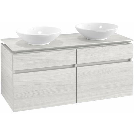 Mueble de tocador Villeroy & Boch Legato B148, 1200x550x500mm, 2 lavabos, color: madera blanca - B14800E8
