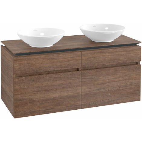 Mueble de tocador Villeroy & Boch Legato B148, 1200x550x500mm, 2 lavabos, color: Roble Santana - B14800E1