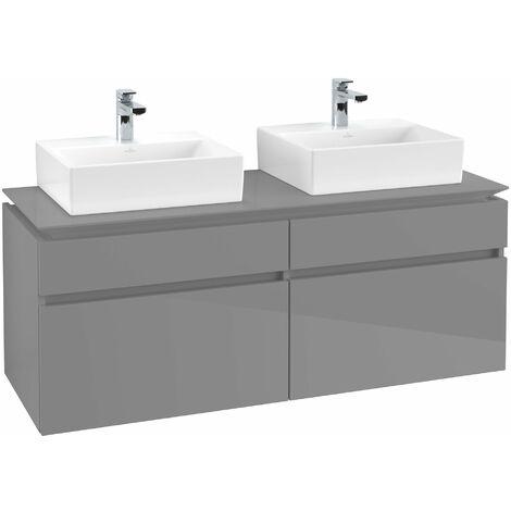 Mueble de tocador Villeroy & Boch Legato B151, 1400x550x500mm, 2 lavabos, color: Gris brillante - B15100FP