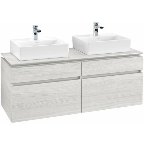 Mueble de tocador Villeroy & Boch Legato B151, 1400x550x500mm, 2 lavabos, color: madera blanca - B15100E8