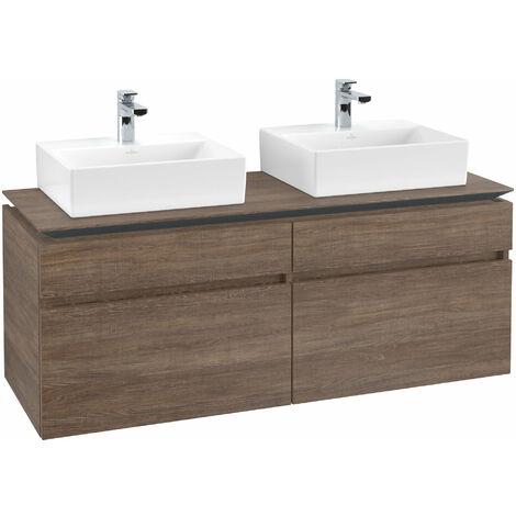 Mueble de tocador Villeroy & Boch Legato B151, 1400x550x500mm, 2 lavabos, color: Roble Santana - B15100E1