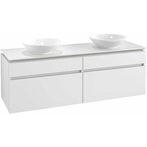 Mueble de tocador Villeroy & Boch Legato B153, 1600x550x500mm, 2 lavabos, color: Blanco Mate - B15300MS