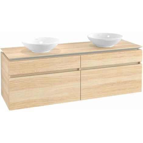 Mueble de tocador Villeroy & Boch Legato B153, 1600x550x500mm, 2 lavabos, color: Elm Impresso - B15300PN