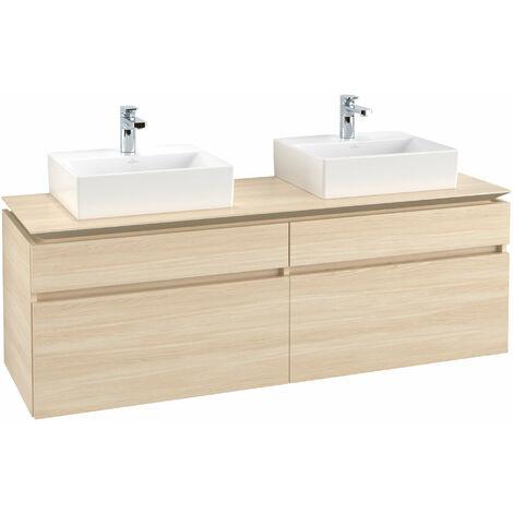Mueble de tocador Villeroy & Boch Legato B154 1600x550x500mm, 2 lavabos, color: Elm Impresso - B15400PN