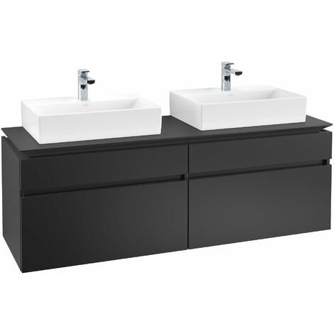 Mueble de tocador Villeroy & Boch Legato B154 1600x550x500mm, 2 lavabos, color: Negro Mate Laca - B15400PD