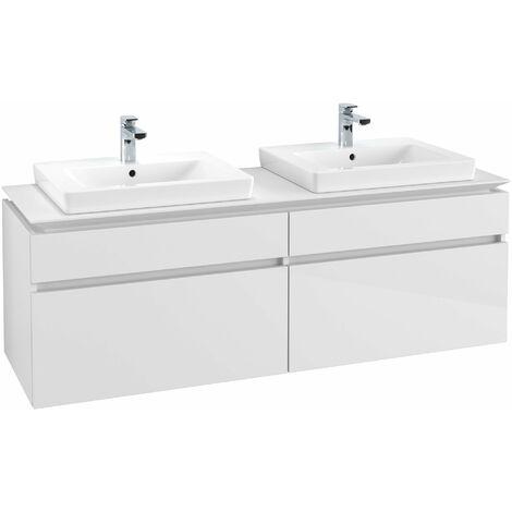 Mueble de tocador Villeroy & Boch Legato B15460, 1600x550x500mm, 2 lavabos, color: Blanco brillante - B15460DH