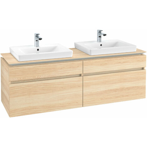Mueble de tocador Villeroy & Boch Legato B15460, 1600x550x500mm, 2 lavabos, color: Elm Impresso - B15460PN