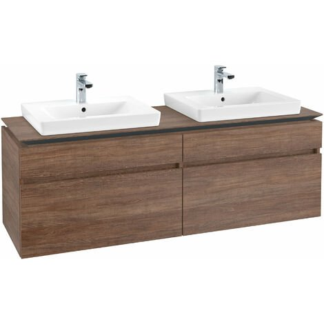 Mueble de tocador Villeroy & Boch Legato B15460, 1600x550x500mm, 2 lavabos, color: Roble Santana - B15460E1