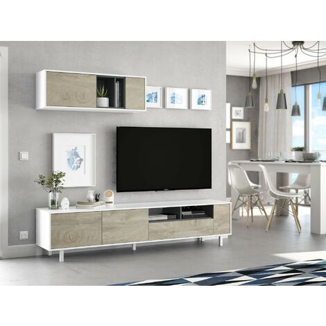 Mueble de TV 200 cm Blanco mate y Roble   Roble claro/blanco