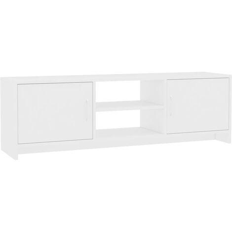 Mueble de TV aglomerado blanco 120x30x37,5 cm