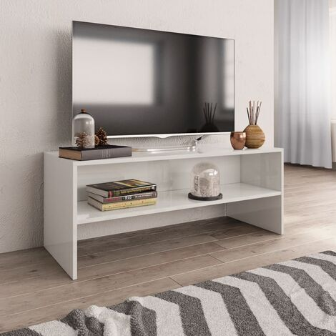 Mueble de TV aglomerado blanco brillante 100x40x40 cm