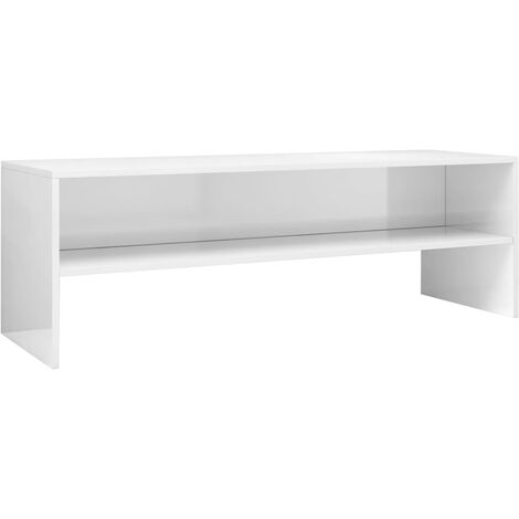 Mueble de TV aglomerado blanco brillante 120x40x40 cm