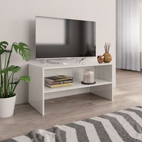 Mueble de TV aglomerado blanco brillante 80x40x40 cm