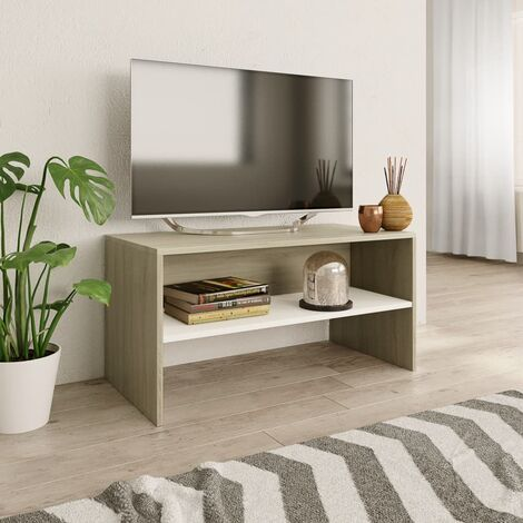 Mueble de TV aglomerado color blanco y roble Sonoma 80x40x40 cm