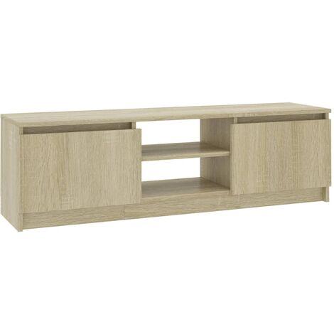 Mueble de TV aglomerado color roble Sonoma 120x30x35,5 cm