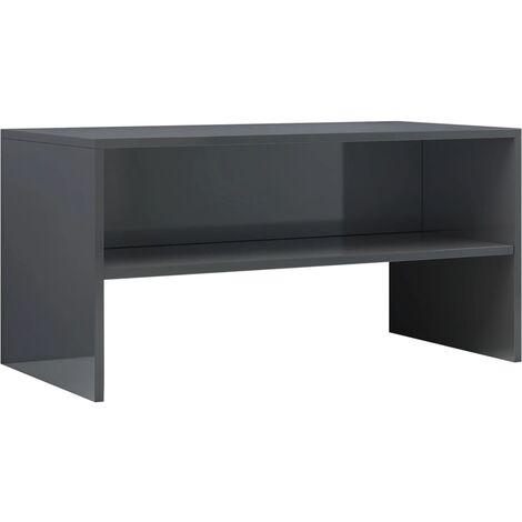 Mueble de TV aglomerado gris brillante 80x40x40 cm