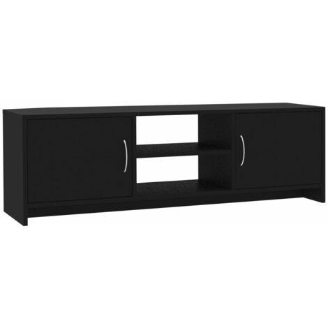Mueble de TV aglomerado negro 120x30x37,5 cm