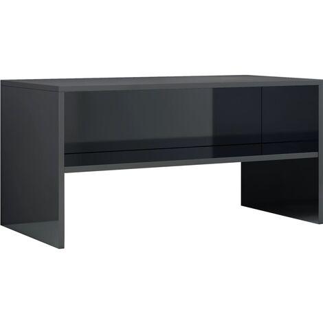 Mueble de TV aglomerado negro brillante 80x40x40 cm