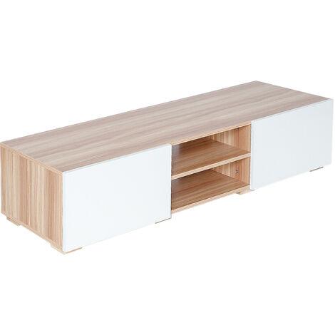 Mueble de tv blanco y roble escandinavo de 140 * 31 * 42 cm