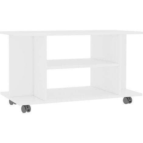 Mueble de TV con ruedas aglomerado blanco 80x40x40 cm