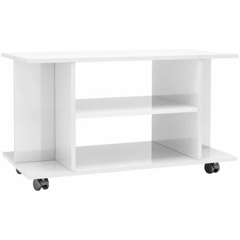 Mueble de TV con ruedas aglomerado blanco brillante 80x40x40 cm