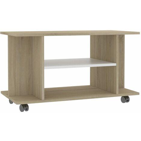 Mueble de TV con ruedas aglomerado blanco y Sonoma 80x40x40 cm