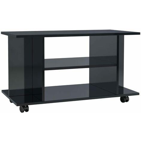 Mueble de TV con ruedas aglomerado negro brillante 80x40x40 cm