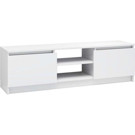 Mueble de TV de aglomerado blanco brillante 120x30x35,5 cm