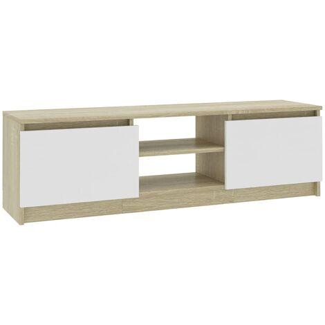 Mueble de TV de aglomerado blanco roble Sonoma 120x30x35,5 cm