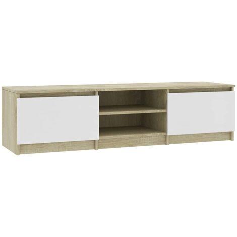 Mueble de TV de aglomerado blanco y roble Sonoma 140x40x35,5 cm