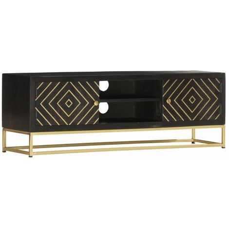 Mueble de TV madera maciza de mango negro y dorado 120x30x40 cm