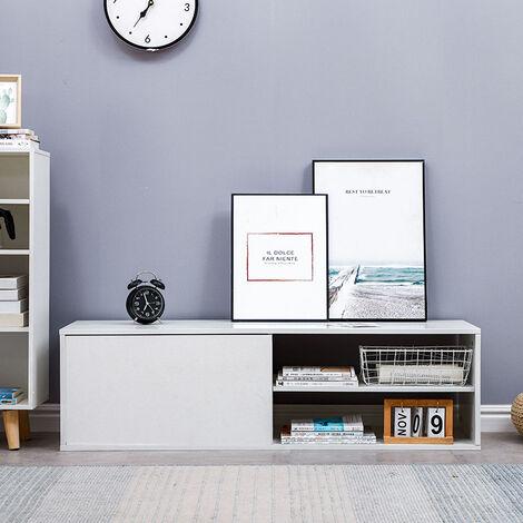 Mueble de TV | Mesa de café | Mesa para TV Mesa para salón |130*42*35cm [ Alto brillo gris]