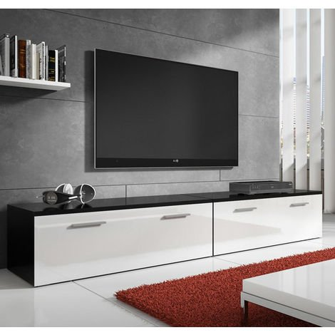 Mueble de TV modelo Arona 2 color negro/blanco - 2m (1m + 1m)