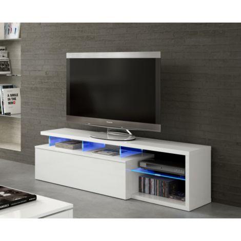 Mueble de TV para el salón Blue tech 150 cm Blanco brillante con una puerta y luces LED | Blanco