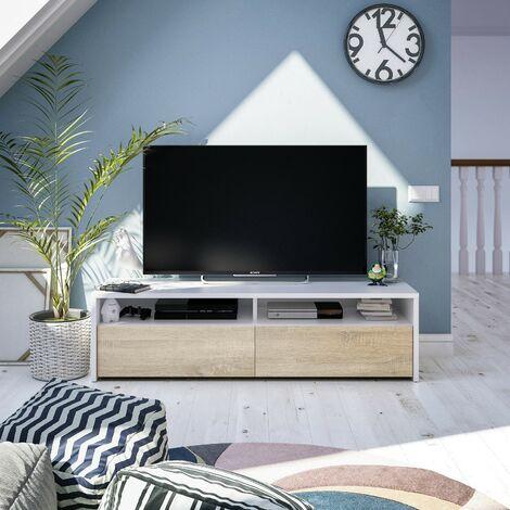 Mueble de TV para salón 130 cm Blanco mate y roble canadiense con dos puertas | color