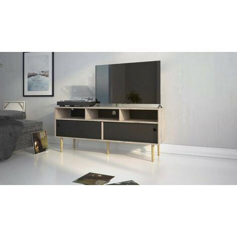 Mueble de TV para salón 147 cm Negro Mate y Roble con dos puertas correderas y tres compartimentos | Negro y roble