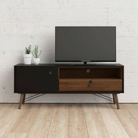 Mueble de TV para salón 150 cm Negro mate y nogal | Negro y nogal
