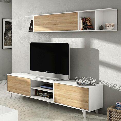 Mueble de TV para salón, blanco brillante y color roble, de 180x51x41cm.