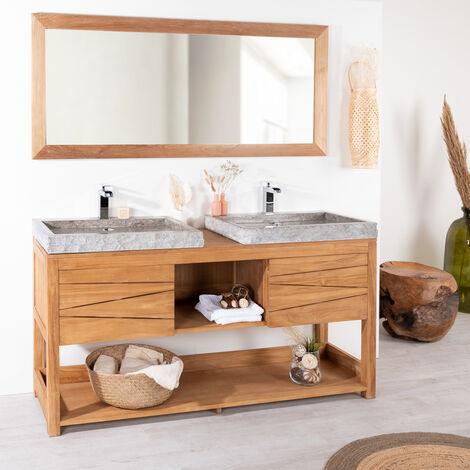 Mueble doble de teca maciza COSY 160 cm + 2 lavabos gris