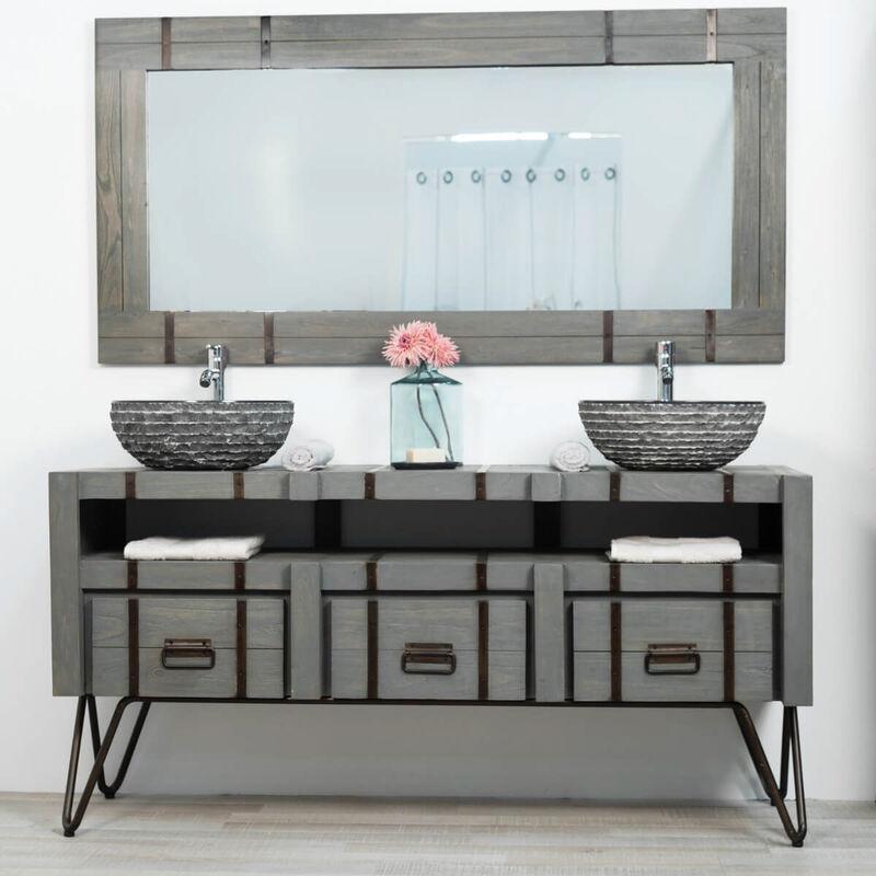 Mueble doble para cuarto de baño LOFT de mindi y metal 160 ...