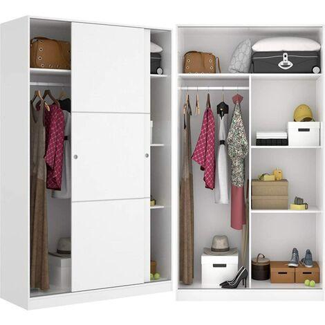 Mueble Dormitorio Organización 120 cm de ancho ALTO 204cm Blanco Brillo