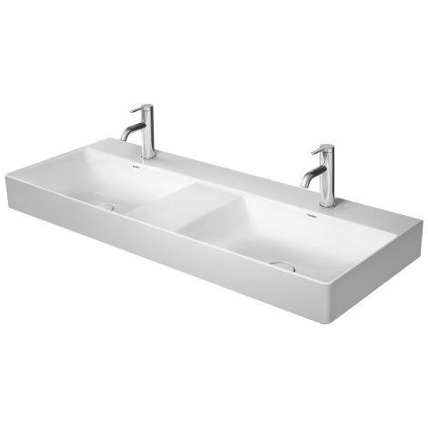 Mueble Duravit DuraSquare doble lavabo pulido 120x47cm, 3 agujeros para grifos, sin rebosadero, con banco para grifos, color: Blanco con Wondergliss - 23531200731
