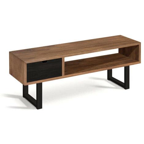 Mueble Estilo Industrial-Vintage fabricado en madera maciza de pino 100% natural, Acabado encerado y negro, Patas Metálicas