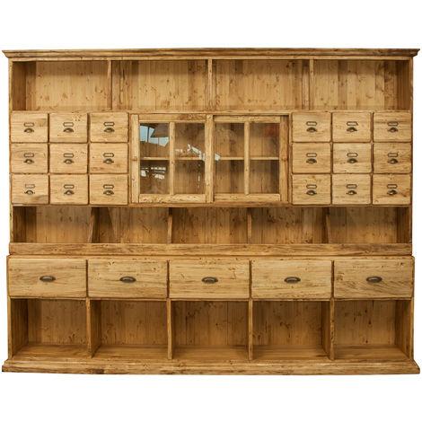 Mueble farmacia de madera maciza de tilo acabado con efecto natural L284xPR40xH220 cm