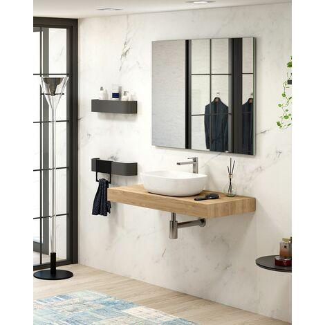 Mueble Flow Suspendido + lavabo Due | Con Espejo Rain Led - 80 cm - Pino Gris - Sin Toallero