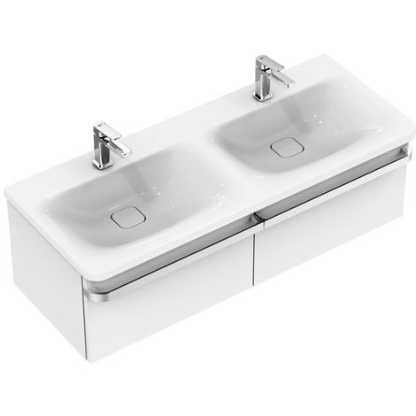 Mueble Ideal Standard Tonic II doble lavabo, IdealFlow, 1215mm K0873, color: Blanco con Ideal Plus - K0873MA