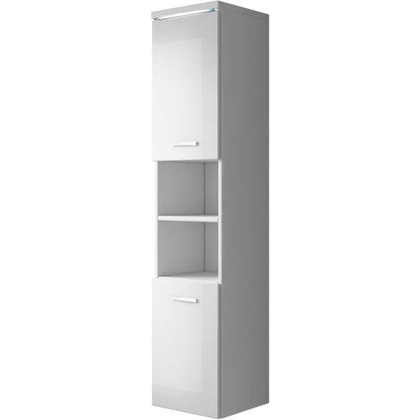 Mueble lateral de baño Paso 160cm blanco con gris brillante - Armario muebles altos