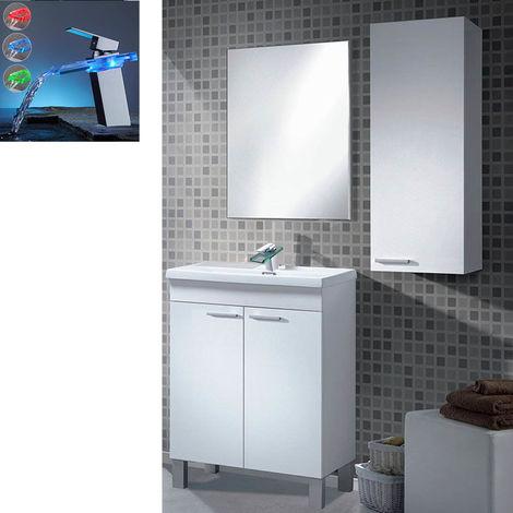 Mueble Lavabo 50 + Espejo + Lavabo Ceramico Grifo Moderno Cascada LED RGB Cambio Color